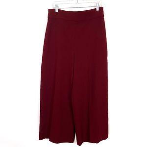 Zara High Waist WideLeg Culottes Dress Pant Maroon
